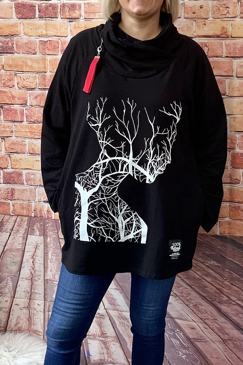 Black tree print zipped cowl neck top, fitting up to a size 20