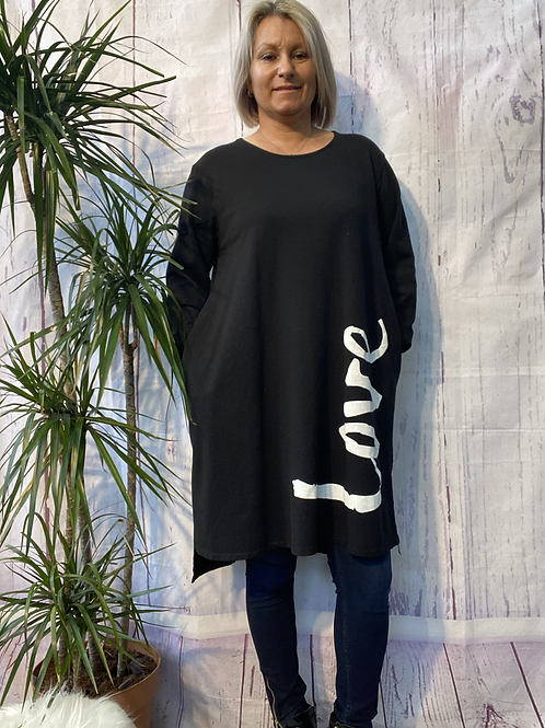 Black LOVE top /tunic fitting up to a size 18.  2033