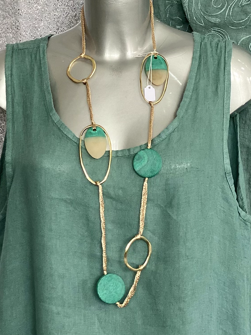 Teal and Gold necklace