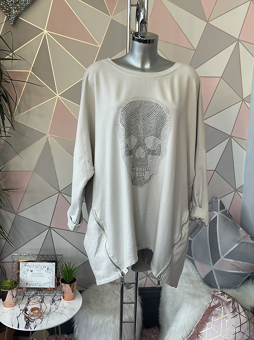 Beige diamante skull quirky sweat top fitting up to a size 22
