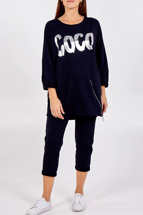 Navy 'Coco' Zip Detail Long Sleeve Lounge Set