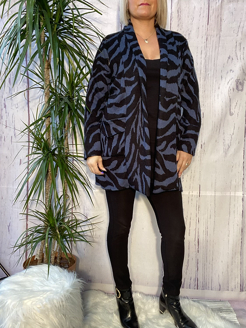 Black and Blue animal print cardigan, fitting up to a size 18. 6590