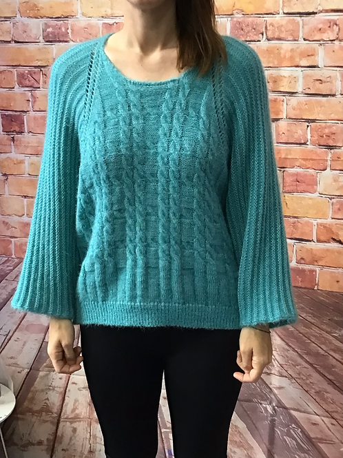 Teal Slouchy batwing jumper