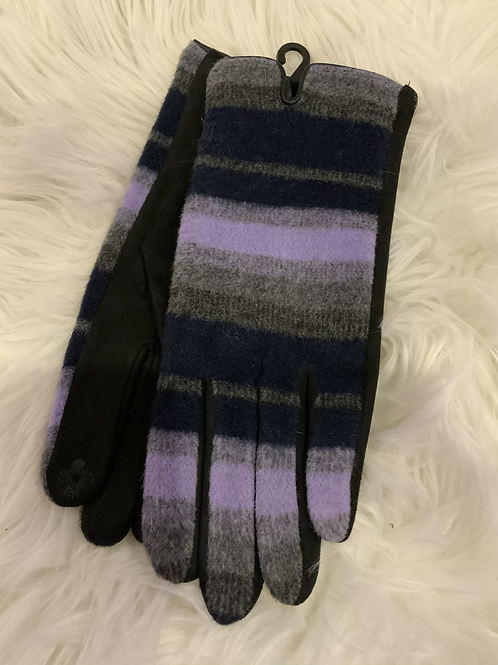 Lilac grey and navy gloves