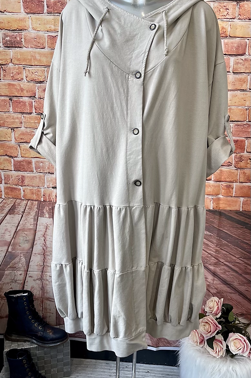 Beige jacket with hood and button front