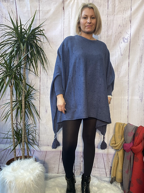 Denim diamanté poncho style jumper, fitting up to a 24.    5559