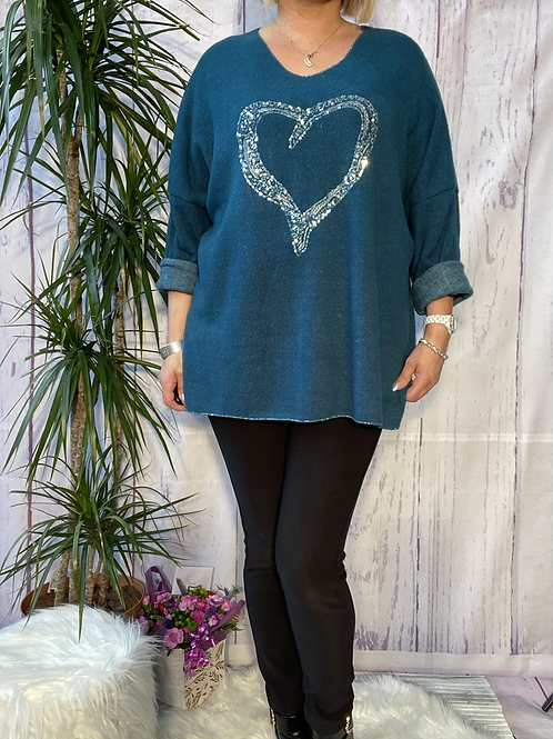 Teal super soft sequin heart top, fitting up to a size 22.   5111