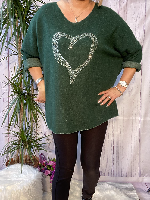 Emerald super soft sequin heart top, fitting up to a size 22.   5111