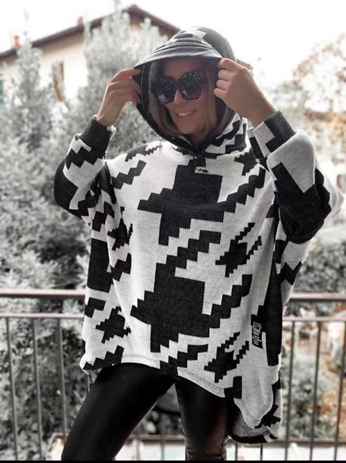 Houndstooth oversized knitted hooded top fitting from a size 10-22