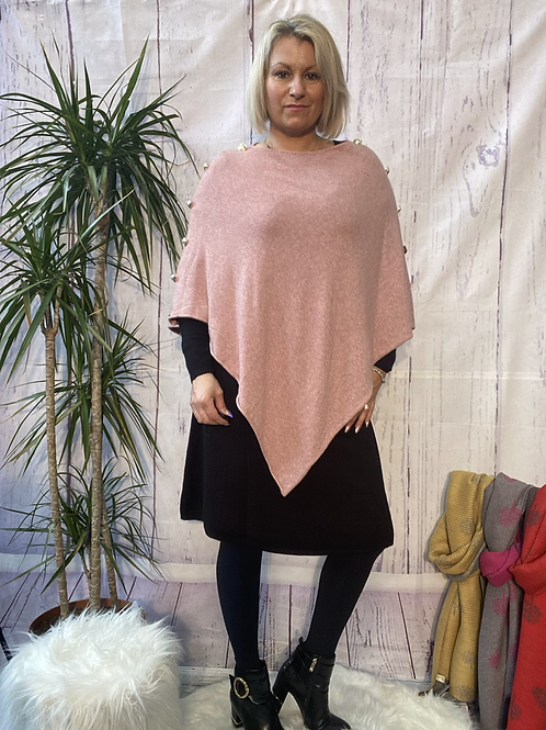 Blush  Made In Italy Classy Buttoned Sleeves Plain Poncho.  10118