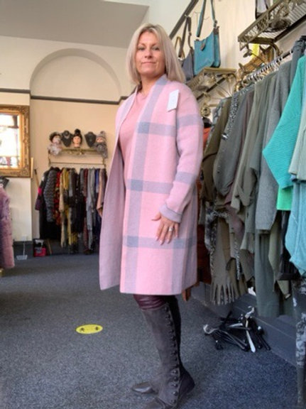 Pink and grey check edge to edge cardigan fitting up to a size 18