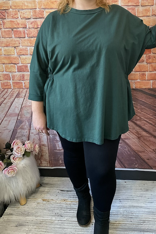 Green quirky elasticated top, fitting up to a size 22