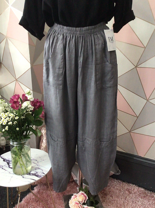 Grey linen full length quirky pocket trousers
