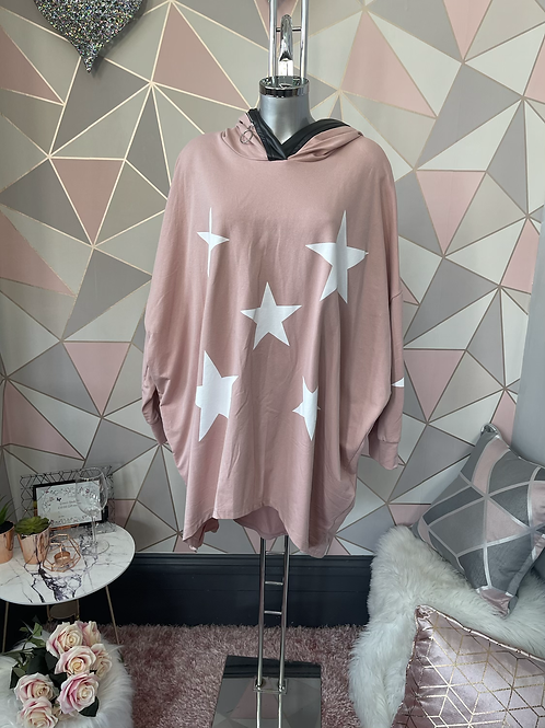 Blush stars hooded top fitting up to a size 24
