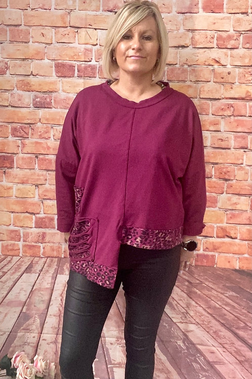 Berry animal print layering top, fitting sizes 12-22