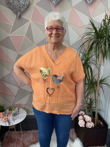 Peach balloon heart top, fitting up to a size 16