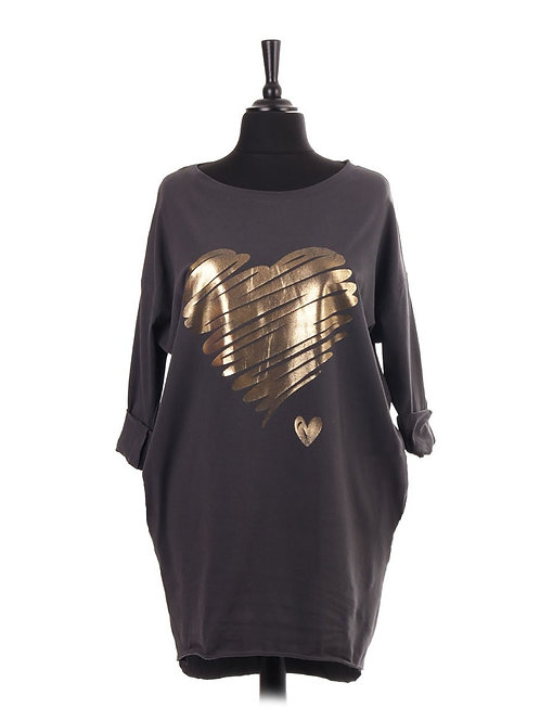 Charcoal  Brush Stroke Glossy Gold Heart Top fitting upto a size 20 12082