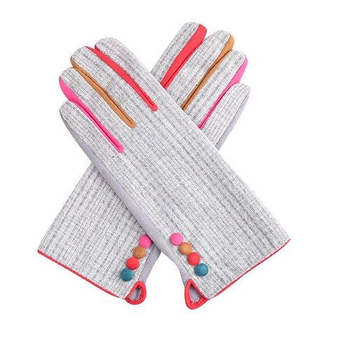 Silver super soft gloves with multi colour buttons and finger inserts.