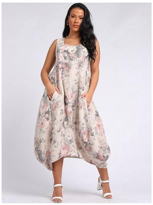 Beige Italian Square Neck Floral Print Sleeveless Linen Dress, Size 16-24