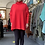 Thumbnail: Red crochet shoulder jumper fitting from a size 10-22