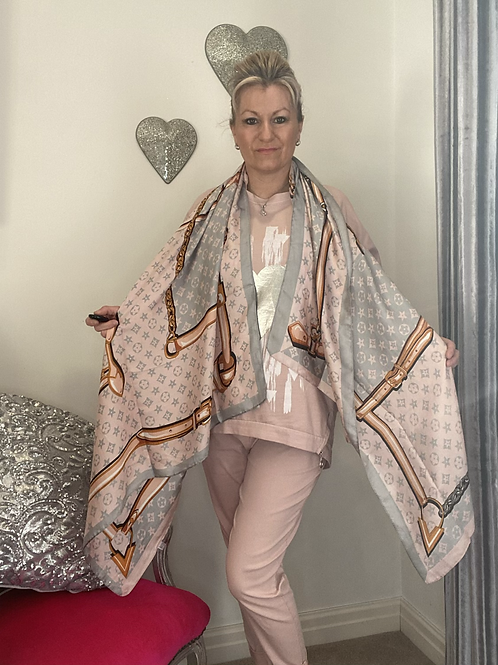 Pink and grey silky scarf