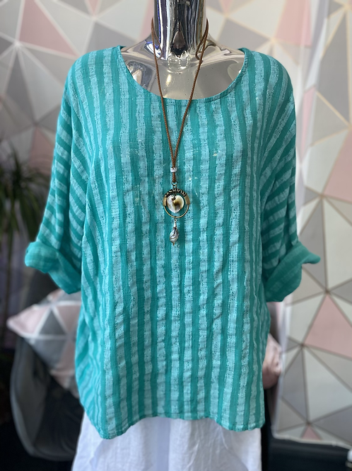 Teal and white Stripes cotton top fitting size 14 to 20