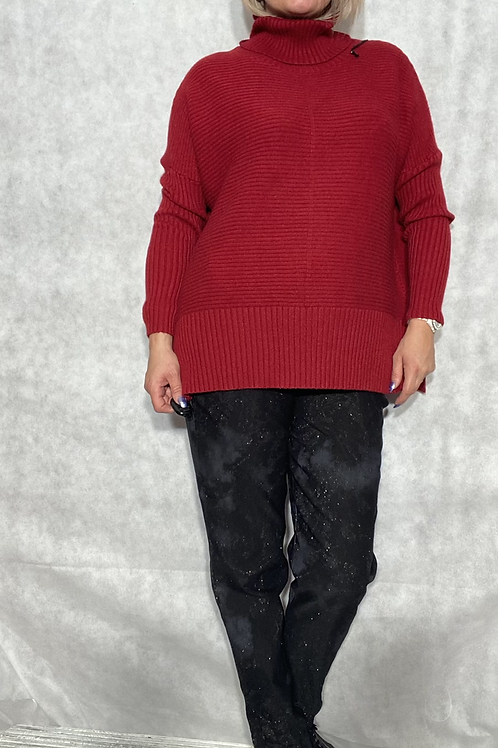 Wine ribbed detail roll neck jumper fitting up to a size 18 6540