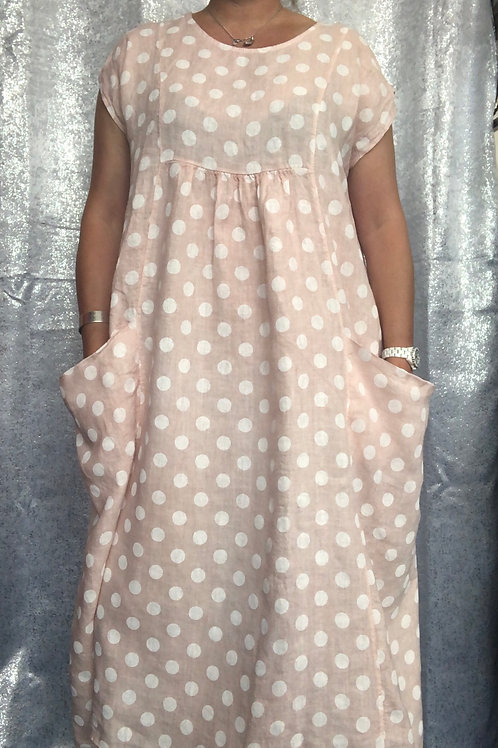 Pink Spotty linen dress fitting up to a size 22  2205