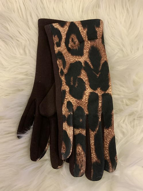 Black and brown super soft animal print gloves