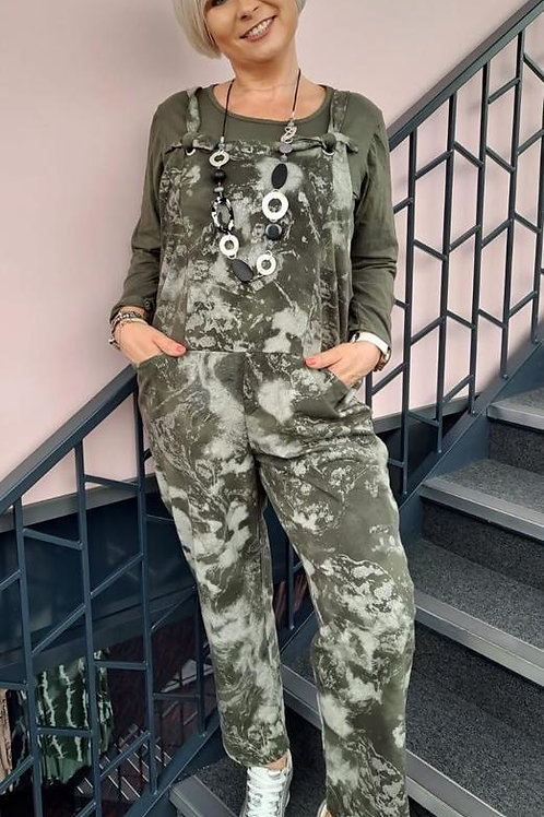 Khaki shimmer dungaree's fitting up to a size 18 20285
