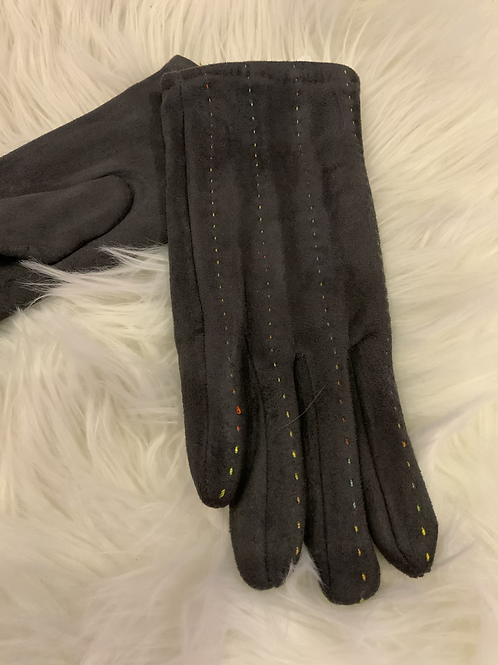 Charcoal super soft gloves with multi colour stitching