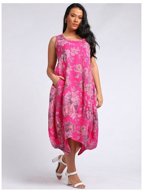 Cerise Italian Square Neck Floral Print Sleeveless Linen Dress, Size 16-24