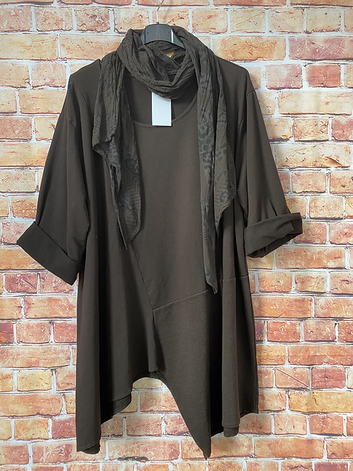 Chocolate quirky top and scarf. Fits sizes 12-22