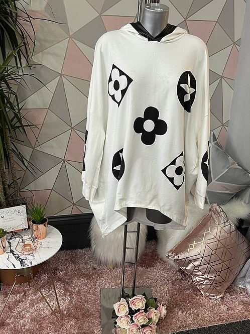 White Louis Vuitton inspired oversized top