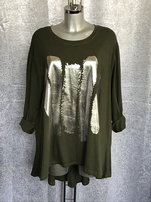 Khaki long sleeved fan back top with foil print. Fitting up to a size 24  0302