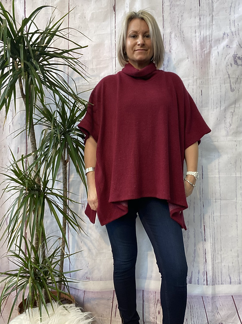 Wine super soft poncho top fitting up to a size 22.    16119