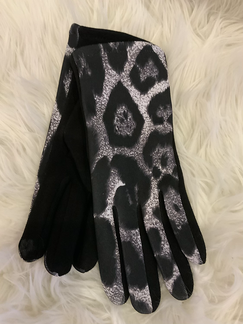 Black and grey super soft animal print gloves