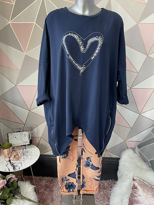 Navy sequin heart top, fitting up to a size 22