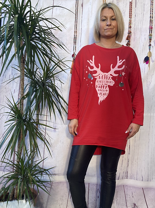 Red stag merry christmas top, fitting up to a size 18.   12112