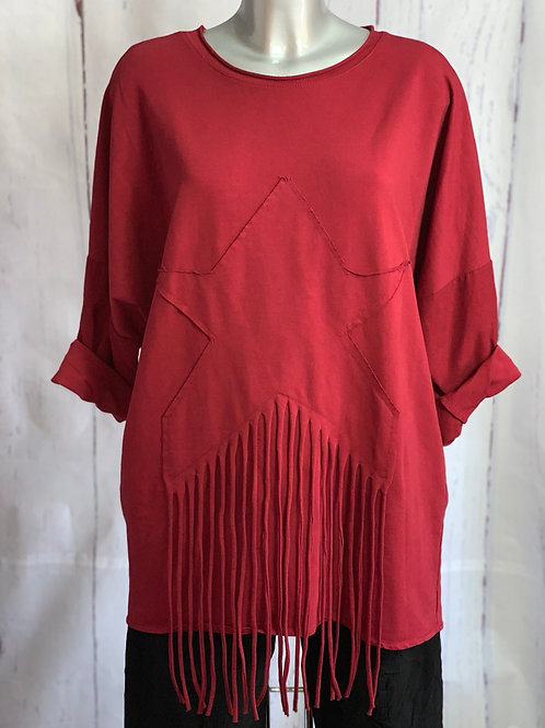 Wine Star and Tassels  top. Fitting up to a size 18.  050804