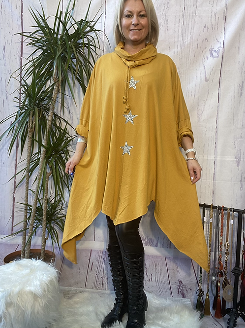 Mustard triple star quirky tunic, fitting up to a size 24.    9115