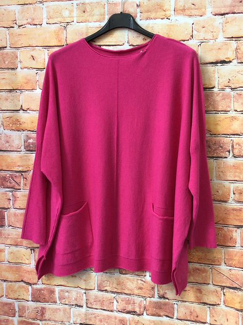 Cerise jumper with front pockets