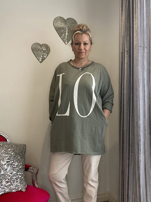 Khaki LOVE top fitting up to a size 18