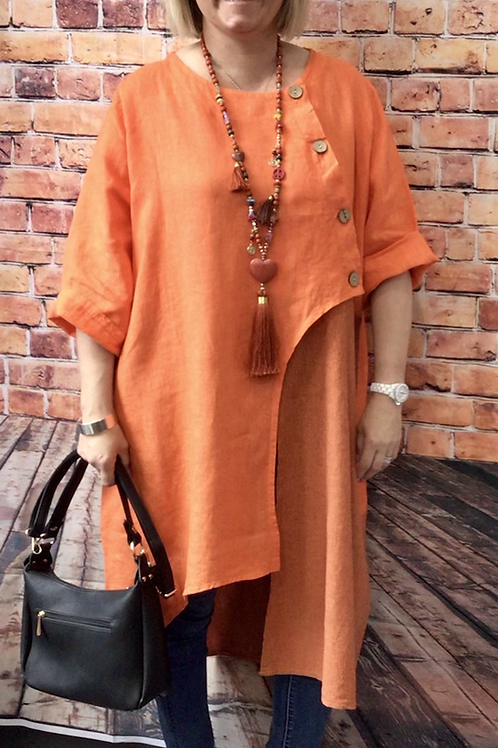 Orange linen quirky longline top, fitting sizes 10-22