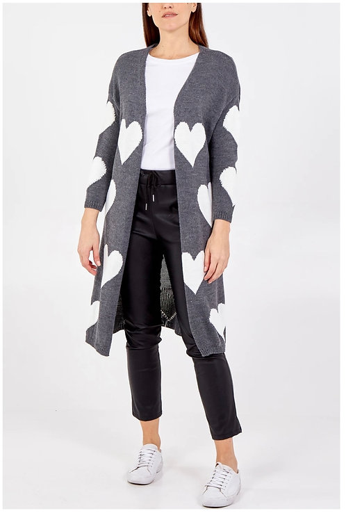 Grey & White Heart Edge To Edge Knitted Long Cardigan