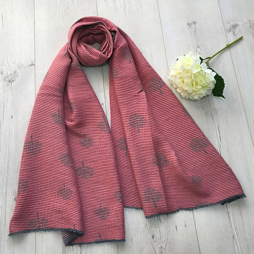 Pink and grey mulberry tree scarf