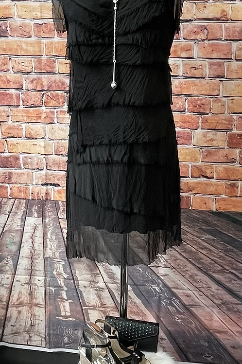 Black silky layer dress, fitting sizes 8-16