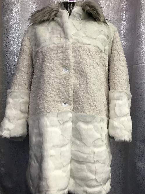 Cream faux fur and teddy coat, fitting up to a size 18