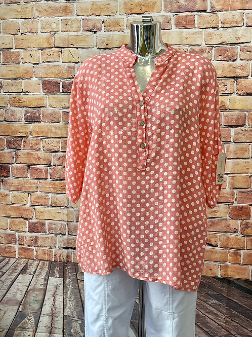 Coral Polka Dot cotton top, fitting up to a size 18