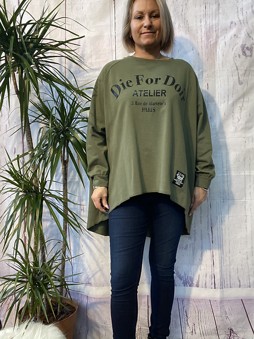Khaki Die for Dior top, fitting up to a size 22.    16116